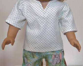 flannel pajamas for 18'' doll