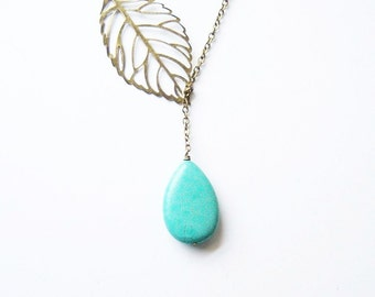 BEAUTIFUL/Turquoise and Leaf Lariat Necklace//Stone Necklace/Turquoise Necklace/Leaf Necklace