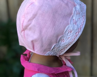 Pink Linen Love Bonnet 2-3 years