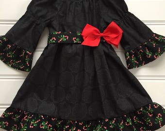 Toddler Christmas Dress, Girl Holiday Dress, Girl Christmas Dress, Girl Black Dress, Toddler Christmas Outfit, 3T, Ready to Ship