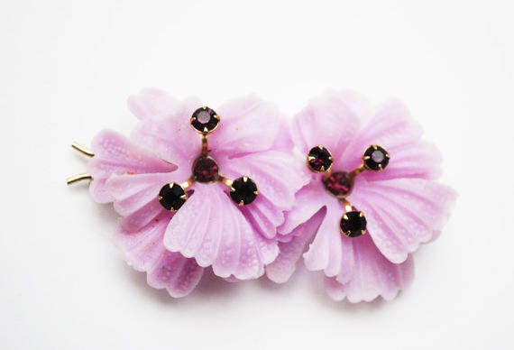 Purple flower Hair Clip  Barrette - Vintage Plastic   Rhinestone floral hair pin