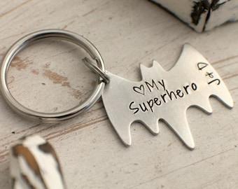 I Love My Superhero - Personalized Superhero Keychain - Personalized Hand Stamped BAT Keychain - Anniversary Keychain - Father's Day Gift