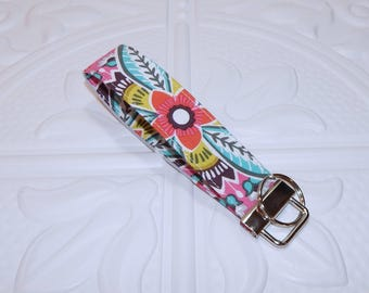 Fabric Keychain Lanyard - Wristlet Key Fob - Fabric Key Chain - Floral Key Chain - Floral Key Fob - Ready To Ship