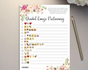Emoji Pictionary Bridal Shower game printable Floral Bridal Emoji game template Instant download PDF JPEG 5x7