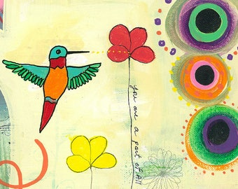 Orange Red Blue Green Hummingbird Flowers-029 Mixed Media Painting by Carianne James