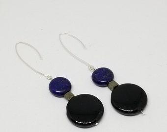 Lapis Lazuli, Pyrite, and Black Onyx Geometric Earrings