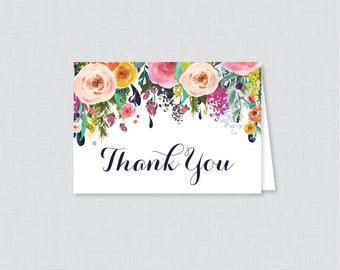 Printable Floral Bridal Shower Thank You Card - Color Flowers Garden Bridal Shower Thank You Card - Shabby Chic Bridal Shower Thank 0002-B