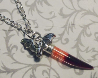Vampire Bat Blood Fang Vial Necklace
