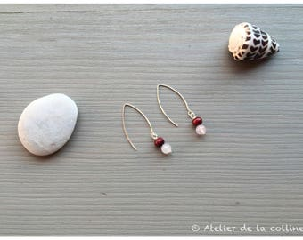 These earrings feature 925 sterling silver hooks, quartz rose and sandalwood