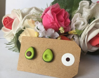 Handmade Little Bits Earrings Green Avocado Stud Earrings Polymer Clay Surgical Steel
