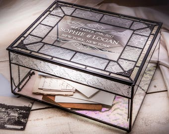 Card Box for Wedding Engraved Vintage Wedding Keepsake Box Stained Glass Memory Box  Gift for Couple Wedding Event Planner Box 840 CBE 843
