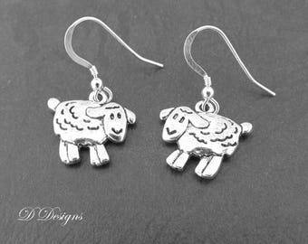 Sheep Earrings Sterling Silver