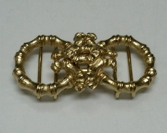 MIMI 1974 Gold Bamboo Belt Buckle Vintage 2 Piece Locking Marked Retro