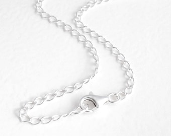 Plain Silver Chain, 14 Inch Choker Chain, Sterling Silver Necklace for Men or Women