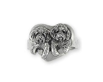 Double Goldendoodle Jewelry Sterling Silver Double Goldendoodle Ring Handmade Dog Jewelry GDL5-R