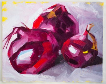 "Red Onions, Painting on Canvas Panel, Original Oil Painting, 8x10, still life art, colourful food - ""Purple and Red"""