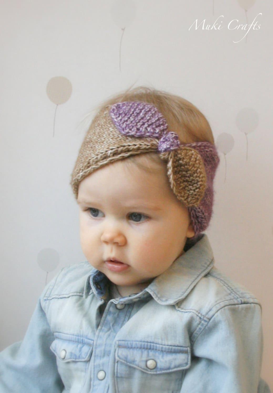 KNITTING PATTERN turban bow headband headwrap Rita (newborn/6m/1y/3y ...