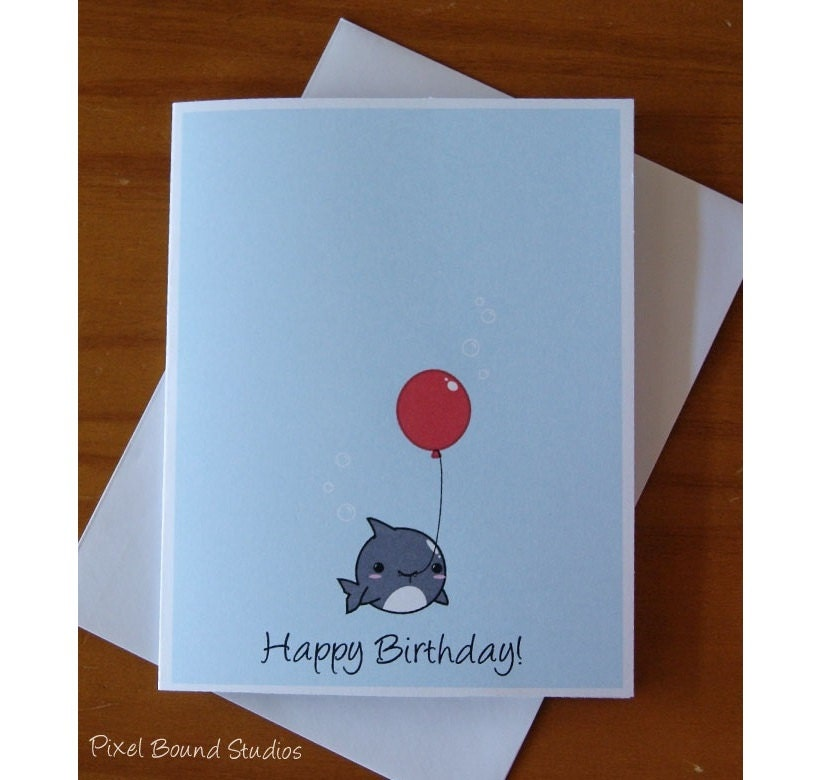 Chibi shark with balloon birthday card zoom bookmarktalkfo Images