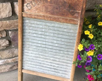Vintage Washboard / Farmhouse  / Rustic Decor / Laundry Room Cabinet Door / Kitchen Wall Hanging / Laundry Room /  Primitive / Worn Wood