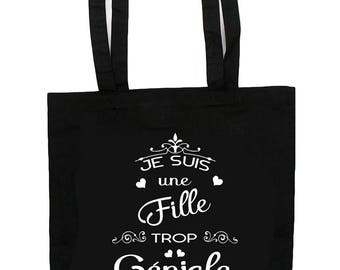 Tote Bag too funky girl - gift colleague - girl gift - girlfriend gift - cotton tote bag