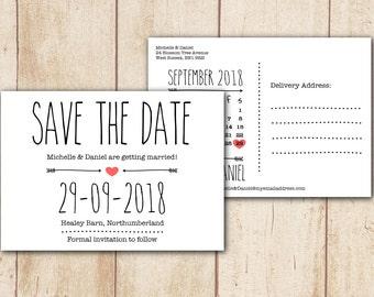 "Printable Save the Date Postcard - Wedding Save the Date Calendar, Wedding Stationery - Diy Bride, Digital Files, Home Printing, 5x7"" (std2)"