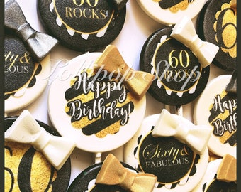 12 60th Birthday Lollipops (Great Gatsby party favors, over the hill party favors, candy table, 60 and fabulous, gold and silver lollipops)