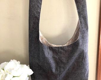 Black sling bag, crossbody, hobo bag, boho bag, hippie purse