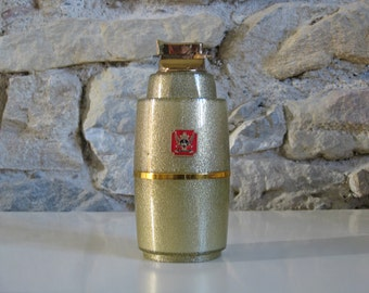 Gold glittery cigarette dispenser with lighter in lid, Lady Mate smoking gift for ladies