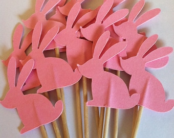 12 pink bunny toppers, rabbit toppers, bunny cupcake toppers