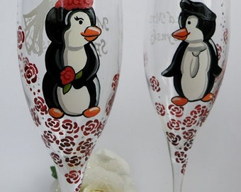 Hand painted Wedding Toasting Flutes Set of 2 Personalized Champagne glasses Penguins