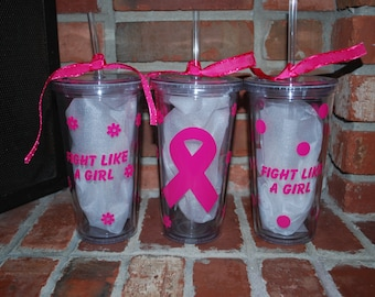 20 oz. Breast Cancer Awareness Tumbler with Straw Insulated, double wall
