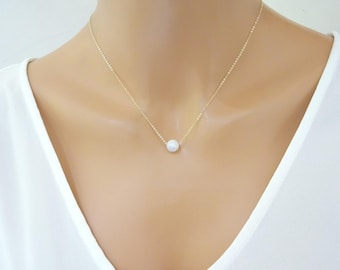 Moonstone necklace, Natural Moonstone jewelry, Floating rainbow moonstone, Gift for her, Bridesmaid necklace