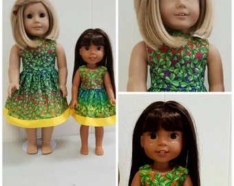 St. Patrick's Day Dress American Made 18 Inch and 14 Inch Doll Clothes