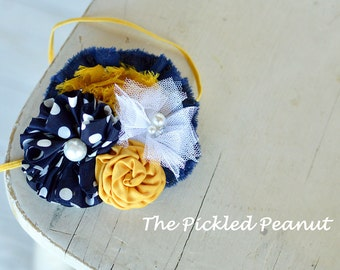 Baby Headband Newborn Headband Baby Girl Baby Bow Hair Bow Toddler Headband Hairbow Navy Blue Mustard Yellow White Flower 1st Birthday