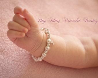 Sterling Silver Cross Baptism Gift, Baby Keepsake Baby Bracelet, Christening Communion Gift White Pearls Kids Jewelry