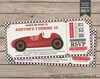 Race Car invitation, Race Car Birthday invitation, Racing Party, Race Car Party, Racing Birthday, Go Kart   - Instant Download Editable PDF