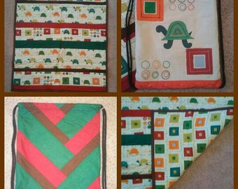 Brown Turtle Baby Quilt Set