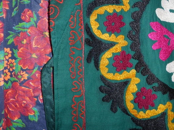 style kaftan Uzbek natural coat unisex condition embroidered vintage original silk mint suzani jacket hand green light 055 chapan wUaxq7CXW