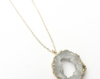 Grey Druzy Agate Slice Necklace on Gold Filled Chain