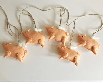 Handmade Felt Flying Pig - Pigs Might Fly - Wings - When Pigs Fly - Pigasus - Garland