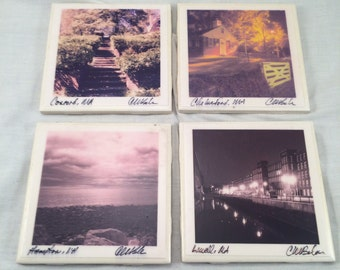 "FREE SHIPPING!!! Unique Original Photos By Belair Tile Coaster Set ""Local Scenes"""