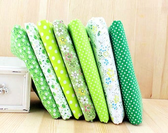 Spring Green Fabric Green Bundle Flowers Fabric Cotton Fabric Sets for 7 each for Quilting Cloth Bag 50X50cm bf14