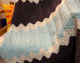 Hand-Knitted Soft Chevron Afghan