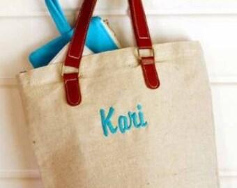 Monogrammed Jute Tote Bag, Personalized Burlap Totes, Monogrammed Jute Purses, Jute Bag, Bridesmaid Jute Purse, Genuine Leather Handles