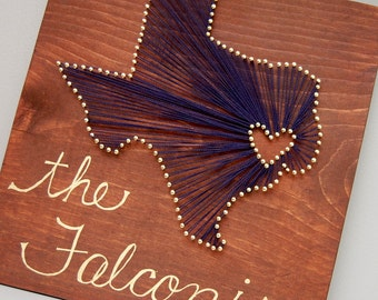 Customized Texas, Spring for the City, Nail and String Art with Last Name, Notre Dame colors, Wedding Gift, Housewarming Gift.