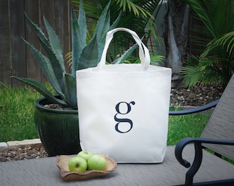 Personalized Eco Friendly Custom Monogram Lowercase Letter G Canvas Bag, Grocery Bag, Farmers Market Bag, Beach Bag, Large Tote Bag