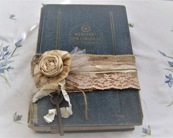Vintage Shabby, Victorian, Farmhouse Altered, Tattered Dictionary Book/Shelf Sitter/Stacker