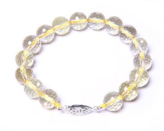 Faceted Lemon Quartz Bracelet with 925 Sterling Silver Clasp