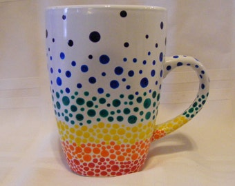 Hand painted rainbow bubble coffee mug