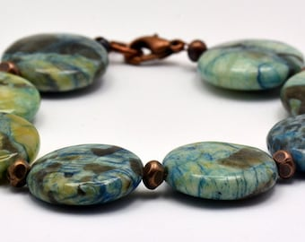 Blue Mud Copper Beaded Bracelet - BR00492